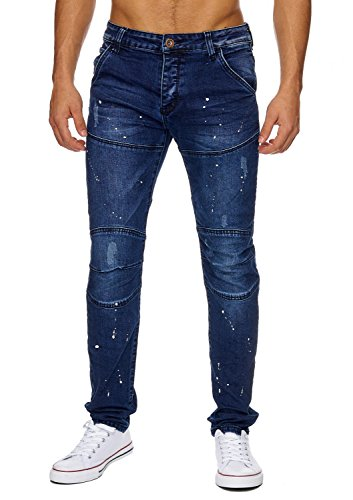 Uomini Skinny Jeans Cospargere CASTEL Nr.1633 Stone Washed Blau