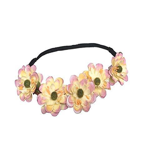 l S Flower Braided Sommer Girlande Bohemian Strand Festival Festlich Bekleidung Hochzeit Haar Wreath Stirnband (Ice Pink) (Color : Picture, Size : One Size) ()