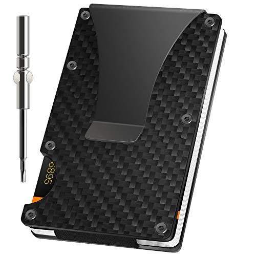 Swonuk Kartenetui Carbon, RFID & NFC Schutz - Slim Wallet Kartenetui - Filzschutz gegen Kartenabrieb - Geldbörse Portmonee für Minimalisten - Herren -