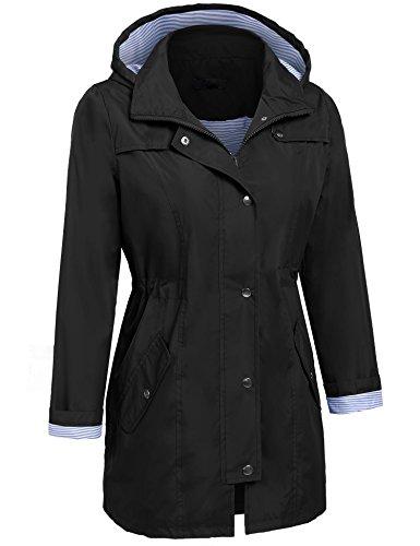 Damen Parka Regenjacke Windbreaker Übergangsjacke Funktionsjacke Regenmantel mit Kapuze Casual Jacke Outwear in 5 Farben A Schwarz