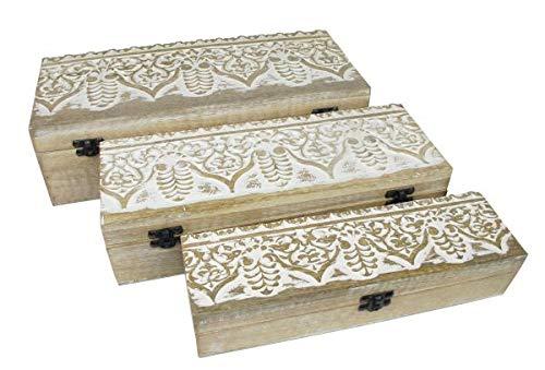 Saharashop Indische Boxen aus Holz Set Nr. 2, 3er Set Orientalische Box mit Deckel, Orientalischer Schmuckkästchen für Damen