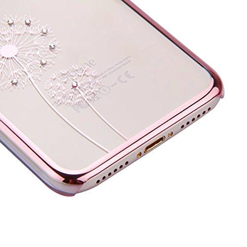 iPhone 7 Custodia Rigida,iPhone 7 Cover Trasparente con Disegno,Felfy iPhone 7 4.7 pollice Custodia Cover Case Bumper Caso Trasparente Luxury Belle Rose Gold Farfalla Brillantini Glitter Bling Strass  C11
