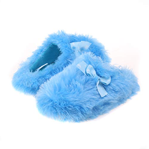 Onmygogo Girls Fuzzy Winter Indoor Slippers with Printed Ribbon
