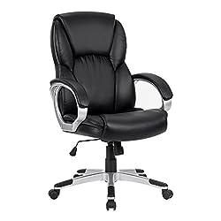LANGRIA Bürostuhl Kunstleder Schreibtischstuhl Chefsessel, Modernes und Ergonomisches Design, Gepolsterte Armlehnen, Höheverstellbar