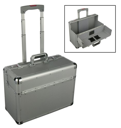 Aluminium Pilot Case Laptop Briefcase Trolley Bag