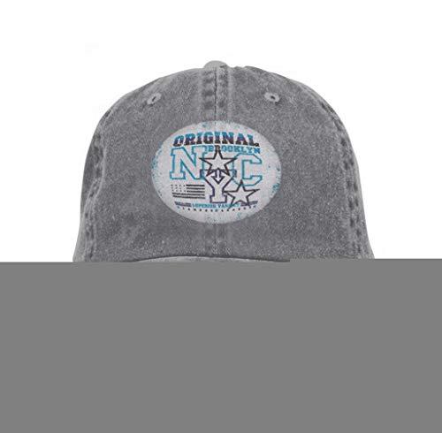 Unisex Baseball Cap Trucker Hat Adult Cowboy Hat Hip Hop Snapback New York Typography Brooklyn Graphic Printing Man NYC Gray