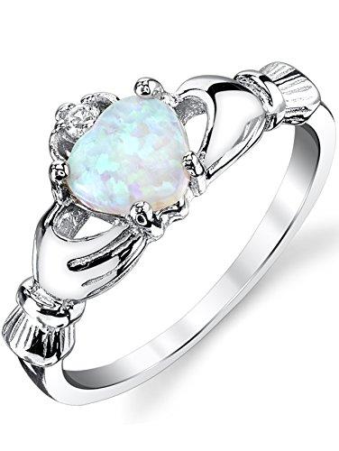 Ultimate Metals Co.® Damen Sterling Silber Claddagh Ring 925 mit blau opal herz,Bequemlichkeit Passen,Größe 47