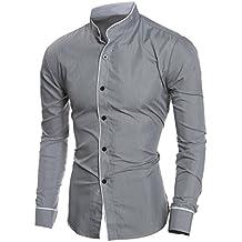 FEITONG Personalidad de los hombres Casual Slim camisa de manga larga Chaqueta Blusa Top