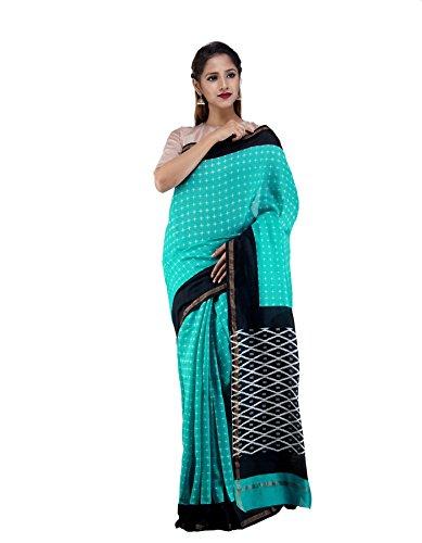 Unnati Silks Women Blue-Black Pochampally Ikat Printed Cotton Silk Saree