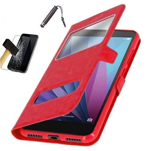 KONTARBOOR Hülle mit Window für Samsung Galaxy A7 2018, Tasche Schutzhülle Case für Samsung Galaxy A7 2018, mehrere (Rot) + Tasche Displayschutzfolie aus Hartglas + Stylus