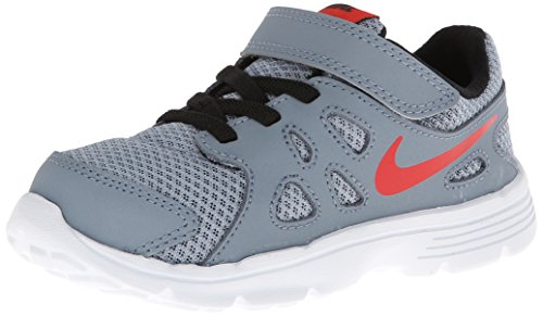 Nike - Revolution 2 Tdv, Scarpine primi passi Bambino Grigio/rosso-nero-bianco (Mgnt Grey/Chllng Rd-Blk-White)