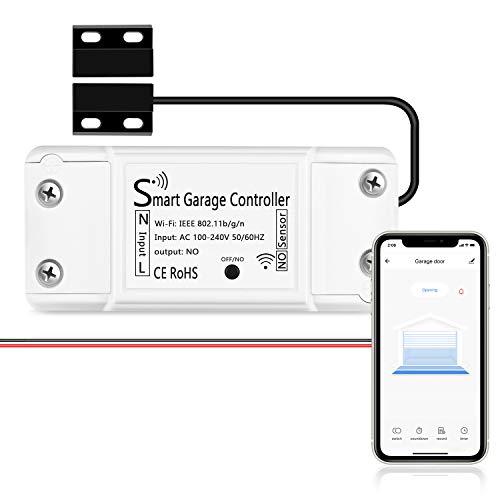AGSHome Smart WLAN Garagentoröffner, APP-Steuerung, Kompatibel mit Google Assistant und SmartThings, weiß