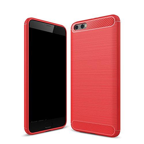 EKINHUI Case Cover Dünne und leichte, gebürstete Carbonfaser-robuste Rüstungsrückseiten-Abdeckungs-Stoßstange-Stoßdämpfer-Stoßdämpfer-Abdeckung für Xiaomi 6 Plus ( Color : Blue ) Red