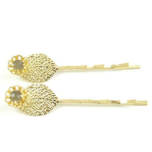 rougecaramel - Accessoires cheveux - Mini pince fantaisie métal doré forme feuille 2pcs - gris