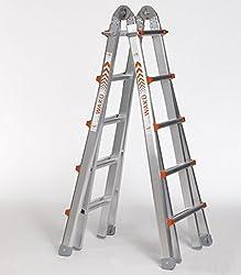 Teleskopleiter 1,57 m - 5,30 m - höhenverstellbar als Anlegeleiter, Bockleiter und Treppenleiter