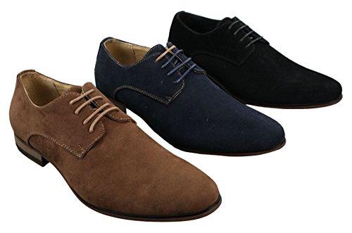 Chaussures Homme Daim Nubuck à Lacets Style Décontracté Chic Bleu Marine Noir Brun Marron