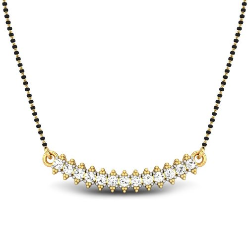 Candere By Kalyan Jewellers Punita 14k Yellow Gold and Diamond Mangalsutra Necklace