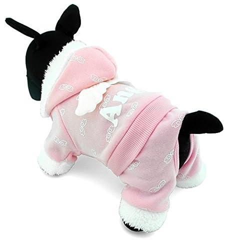 ranphy Small Pet Kostüm Hund Pyjama Katze Kleidung Warm Fleece Engel Hoodies Jacke Coat Jumpsuit (Nette Katze Kostüme Ideen)