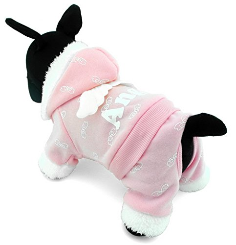 ranphy Small Pet Kostüm Hund Pyjama Katze Kleidung Warm Fleece Engel Hoodies Jacke Coat Jumpsuit