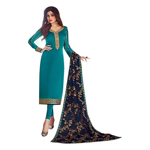 Blue Bollywood Phulkari Dupatta Formal Georgette Salwar Kameez Punjabi Churidar Anzug Muslim Eid 8148 Georgette Churidar
