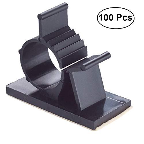 BESTONZON 100 Verstellbare Kabel-Clips Selbstklebende Rückseite Draht Kabelklemmen Kabel-Organizer Kabel-Management (Heftklammern Kabel Elektrische)