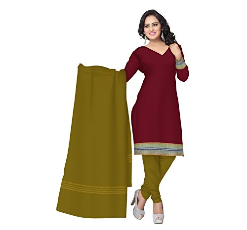 Odisha Saree Store Women's Maroon with Deep Green color Cotton Unstitched Salwar...