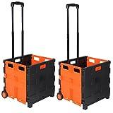 WOLTU EW4801or 2er Einkaufswagen 64L Einkaufstrolley Einkaufsroller Shopping Trolley klappbar bis 35kg 100x42x40,5cm Schwarz-Orange