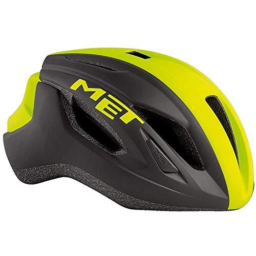 Met Casco Strale Negro Amarillo L58-62 Ciclismo Unisex
