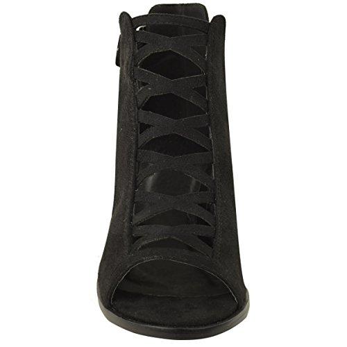 DONNA ZEPPA TACCO BASSO Sandali con lacci cut out scarpe cinturino alla caviglia taglia Nera Pelle Scamosciata