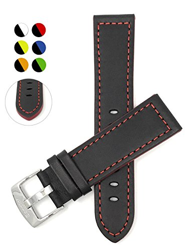 22mm Genuine leather watch strap, Black With Red Stitching, stainless steel buckle, also available in black avec blue, orange, green or couture cage