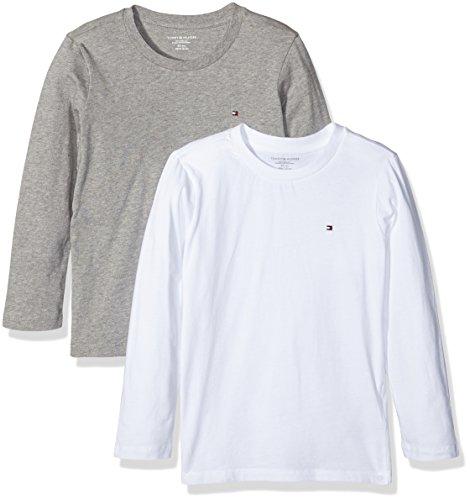 Tommy Hilfiger Jungen T-Shirt Cotton CN Tee LS Icon 2 Pack, 2, Mehrfarbig (White/Grey Heather 101), 152 (Herstellergröße: 10-12) (Tommy Hilfiger Kinder)