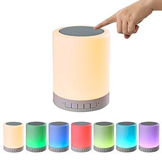 COOSA Tischlampe mit integriertem Lautsprecher und Berührungssensor, Bluetooth, TF Karte, Hängelampe, Anschluss für das Handy, Batteriebetrieben, Campinglampe, Nachtlicht, Wireless