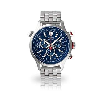 DETOMASO AURINO Reloj Caballero Analógico Cronógrafo Cuarzo Plata Brazalete de Acero Inoxidable Esfera Azul DT1061-C-866