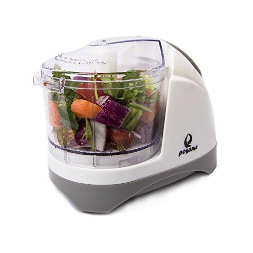 POSAME Elektrischer Universalzerkleinerer, Multi-Zerkleiner, schneider, Fleischwolf, Küchenhelfer für Obst und Gemüse mit 2 Edelstahl Messer und 400ml