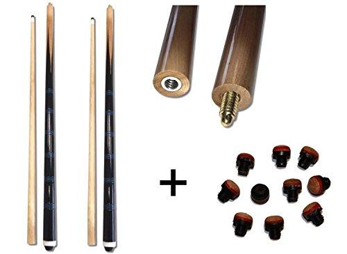 2xBillardqueue zweiteilig in toller schwarz-blauer Optik+10 Ersatzschraubleder