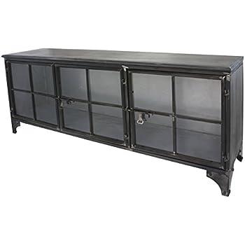 enfilade bahut buffet meuble tele tv meuble industriel fer metal verre cuisine maison. Black Bedroom Furniture Sets. Home Design Ideas