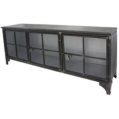 Chemin de Campagne Spieß Kommode Buffet Waschtisch Tele TV Waschtisch industriellen Eisen Metal Glas -