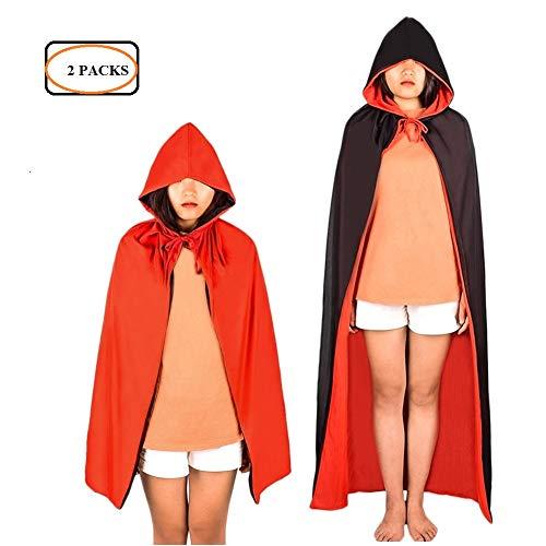 MLJ - 2 stück Halloween Vampir Kostüm Doppelseitig Rot Schwarz Vampir Cape für Kinder und Erwachsene (Halloween-kostüm Zwei-jährigen Jungen)
