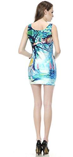 THENICE Damen Weste Kleider Reizvolle dünne Kleid Cheshire Cat