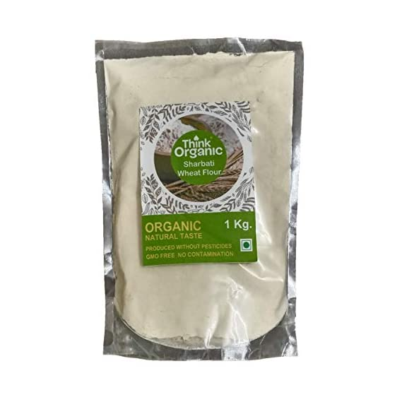 Think Organic Sharbati Wheat Flour - 1 kg. (No Preservatives| No Bleach | No Artificial Flavors).