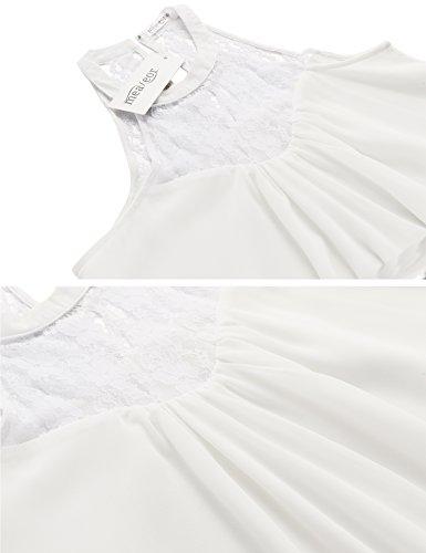 Meaneor Damen Sommer Strandkleid Ärmelloses Kleid mit Spitzen-Partie Partykleid kurzes Chiffonkleid Minikleid für Abend Urlaub Hochzeit A-Weiß