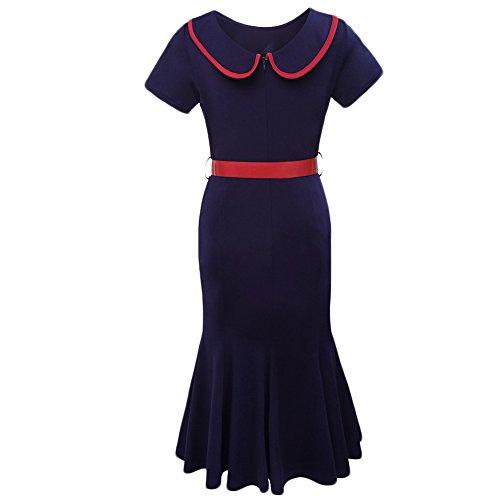 WintCo Damenkleid Mittel Lang Kleid für Party Alltagsleben Unregelmäßige Rollsäume des Kleids Rot Schwarz Blau Blau-1