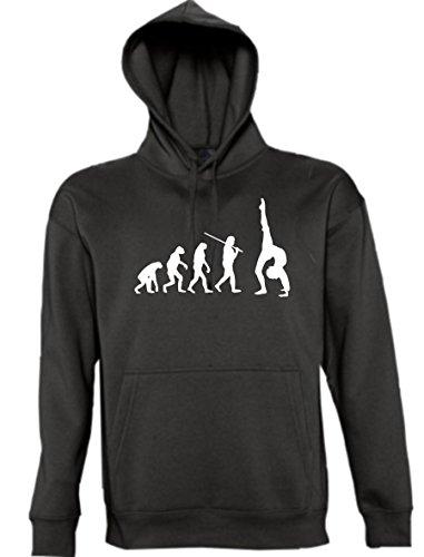 Maglia felpa con cappuccio-shirt Evolution Town shirtzshop Yoga Fitness e Sport danza ginnastica effetto, dimensioni XS-XXL Nero