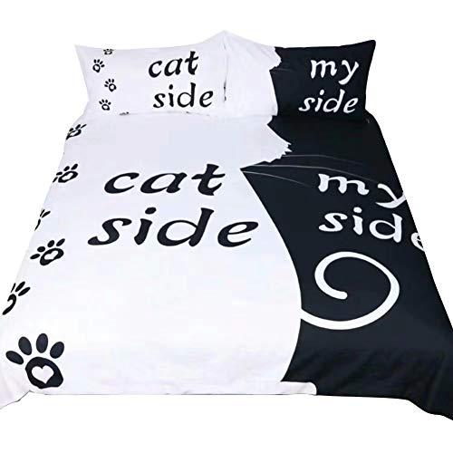 3 Stück weicher Griff Ihrer Seite seines Seite Quilt Bettbezug-Set, Cat Side My Side, Doppelzimmer (200x200 cm) Fit für 135cm Bett