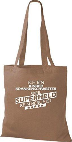 Borsa di stoffa SONO kinderkrankenschwester, WEIL supereroe NESSUN lavoro è Caramello
