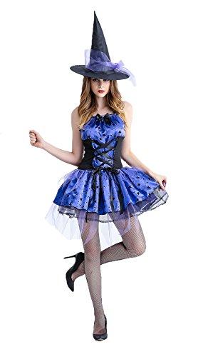Honeystore Damen Hexe Kleid Halloween Asymmetrisch Mit Hut Party Spitze Kostüm Weihnachten Kleidung Blau L