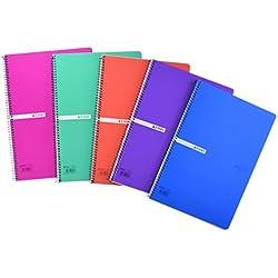 Enri 400042280 Pack de 5 cuadernos espiral, tapa plástico translúcido, Fº, surtido : colores aleatorios