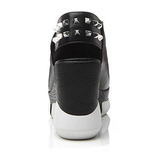 GLTER Donne Peep Toe cuneo della piattaforma di Slingback sandali femminili sandali degli alti talloni pompe Bianco Nero Black
