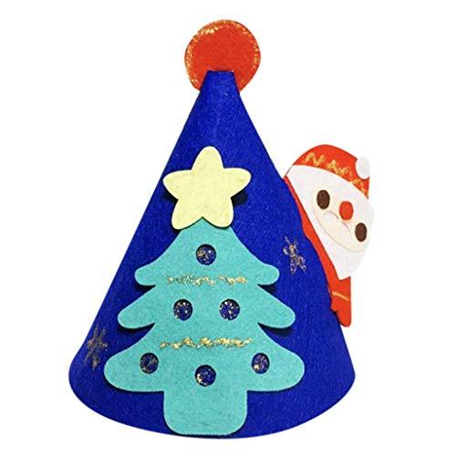 XINSU DIY Weihnachtsdekoration Hut Vlies Filz Tuch Santa Schneemann Hut Weihnachtsdekoration, Weihnachtsfeierbedarf, kreative Weihnachtsmütze (rot) (Color : Blue)