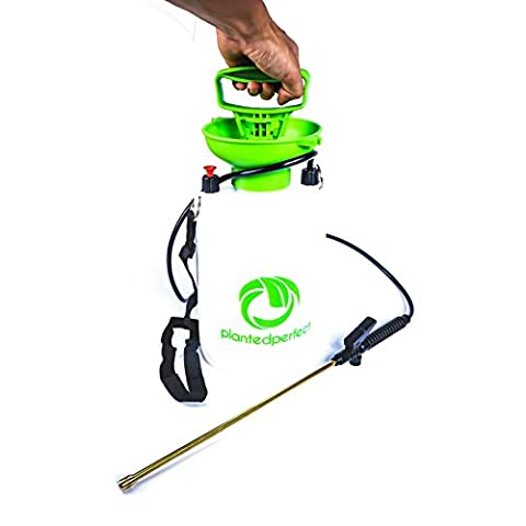 5L CHEMICAL GARDEN SPRAYER - 1.3 Gal Pump Pressure Liquid Sprayers For Fertilizer, Weed Killer, Pesticides and Herbicides - RUST-FREE Brass Hose End is Perfect Grass Watering Tool For Spring Yard And Lawn Care